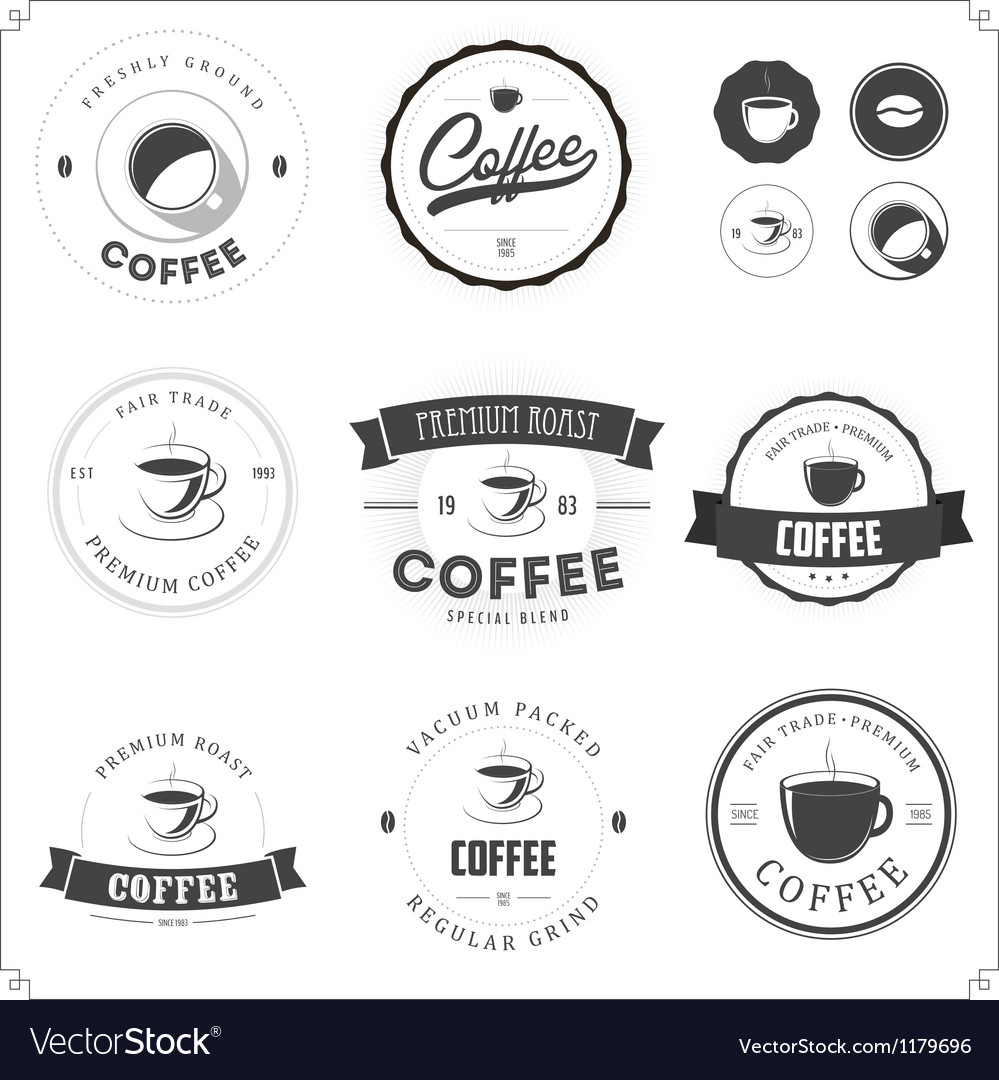 Set of coffee themed monochrome labels