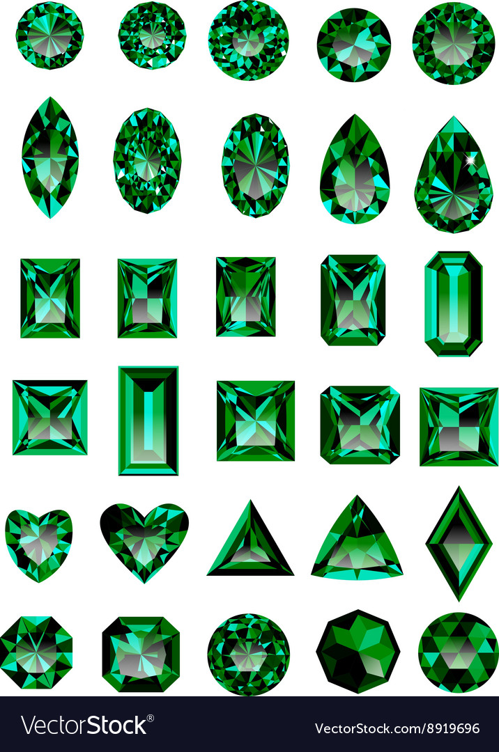 Set of realistic green emeralds vector image