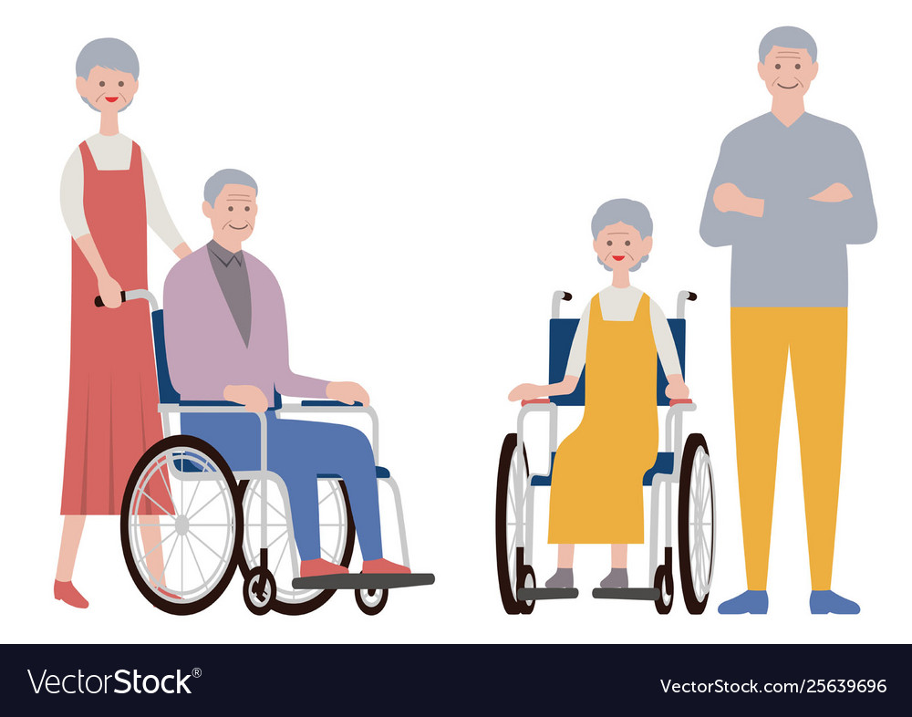 Set old people isolated on a white background