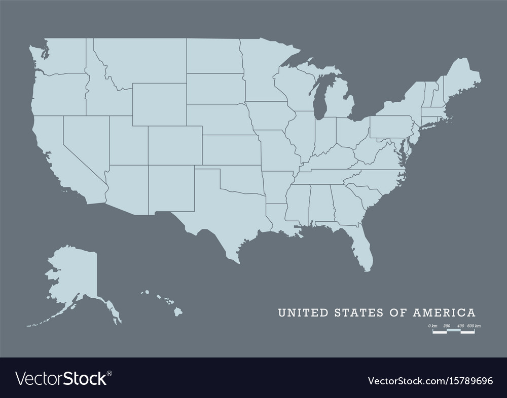 Usa map with federal states
