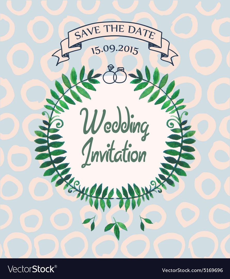 Wedding invitation card design template vector image