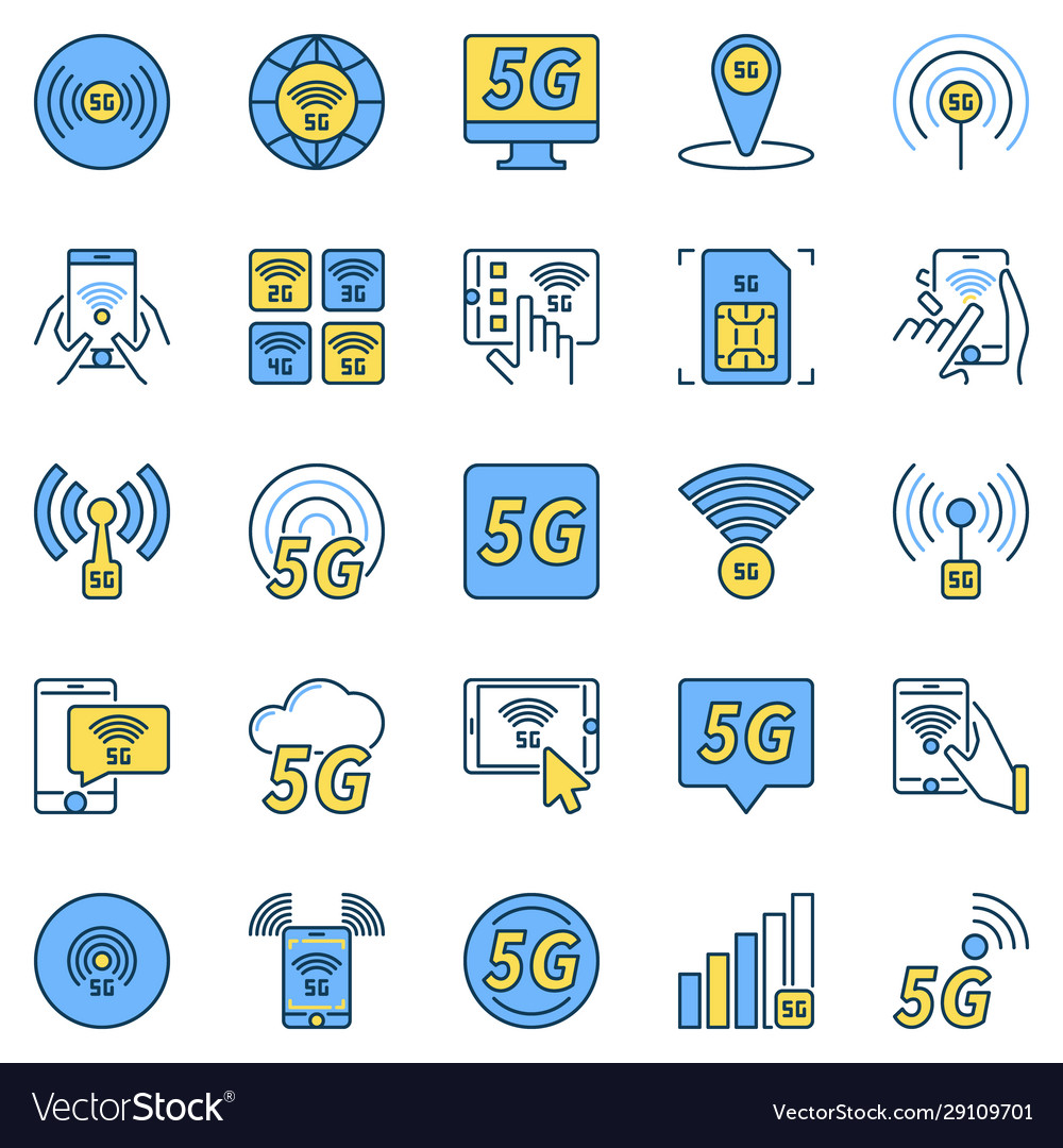 5g technology colored icons - 5th