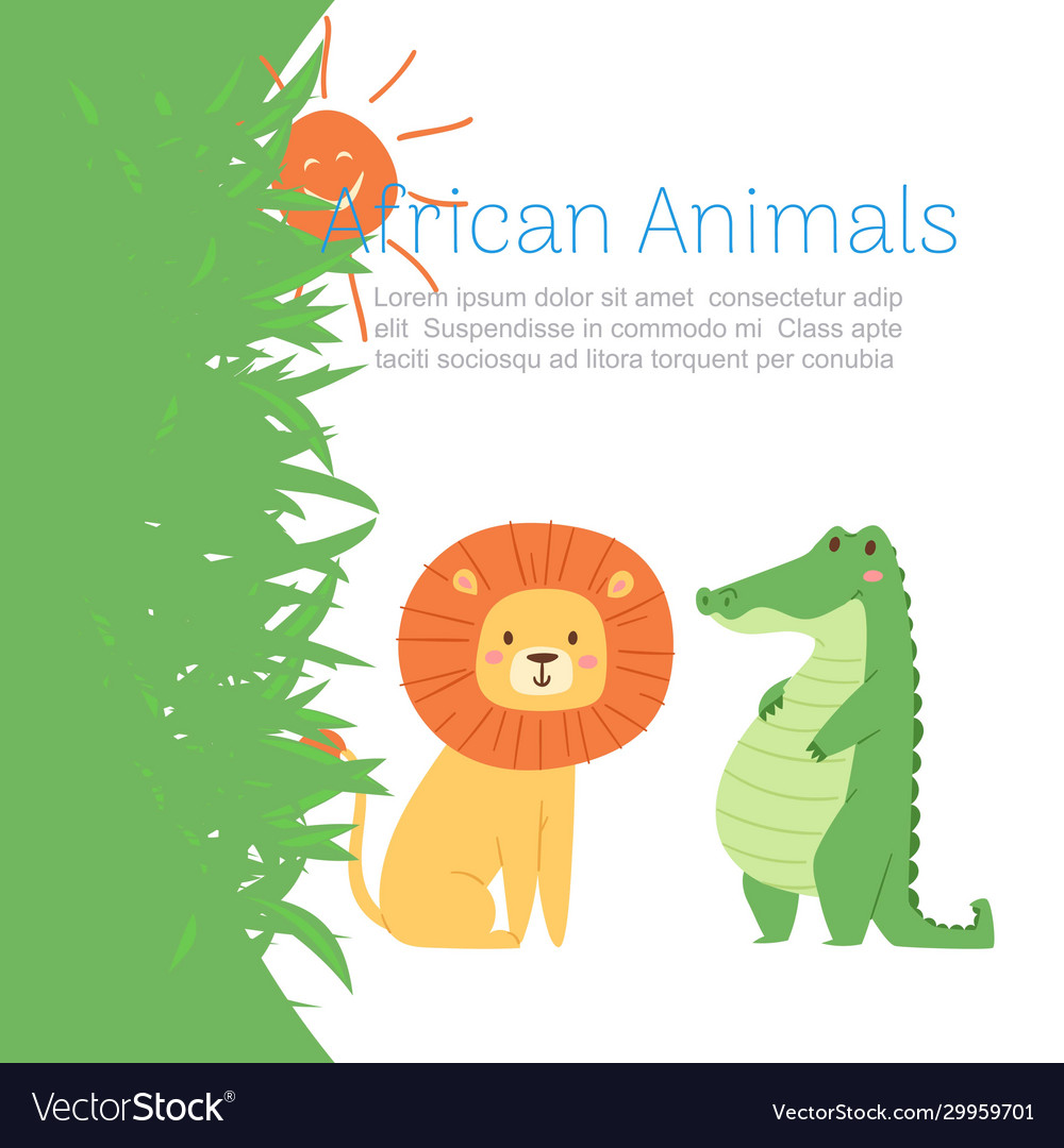 African jungle animals lion and crocodile for cute