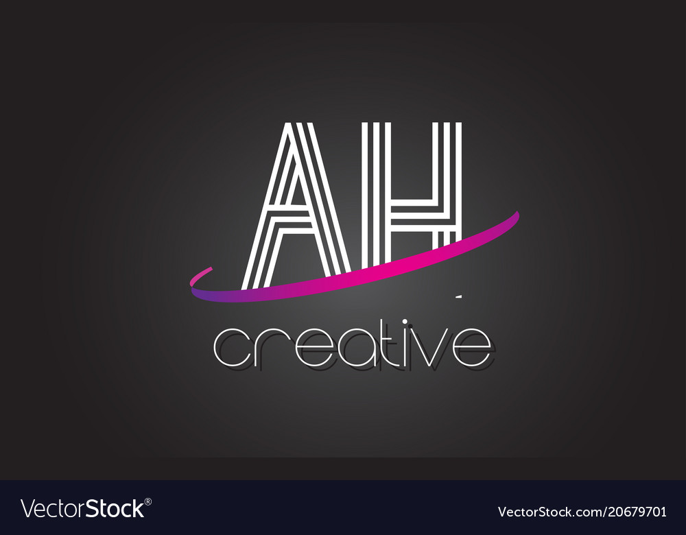 Ah a h letter logo with lines design and purple