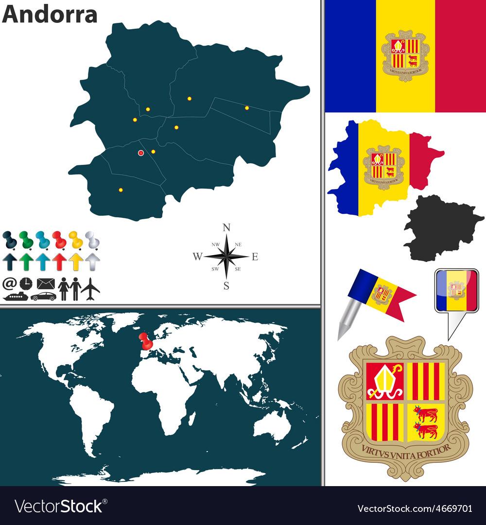Andorra Map World Royalty Free Vector Image Vectorstock