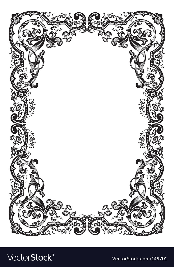 Antique frame engraving Royalty Free Vector Image