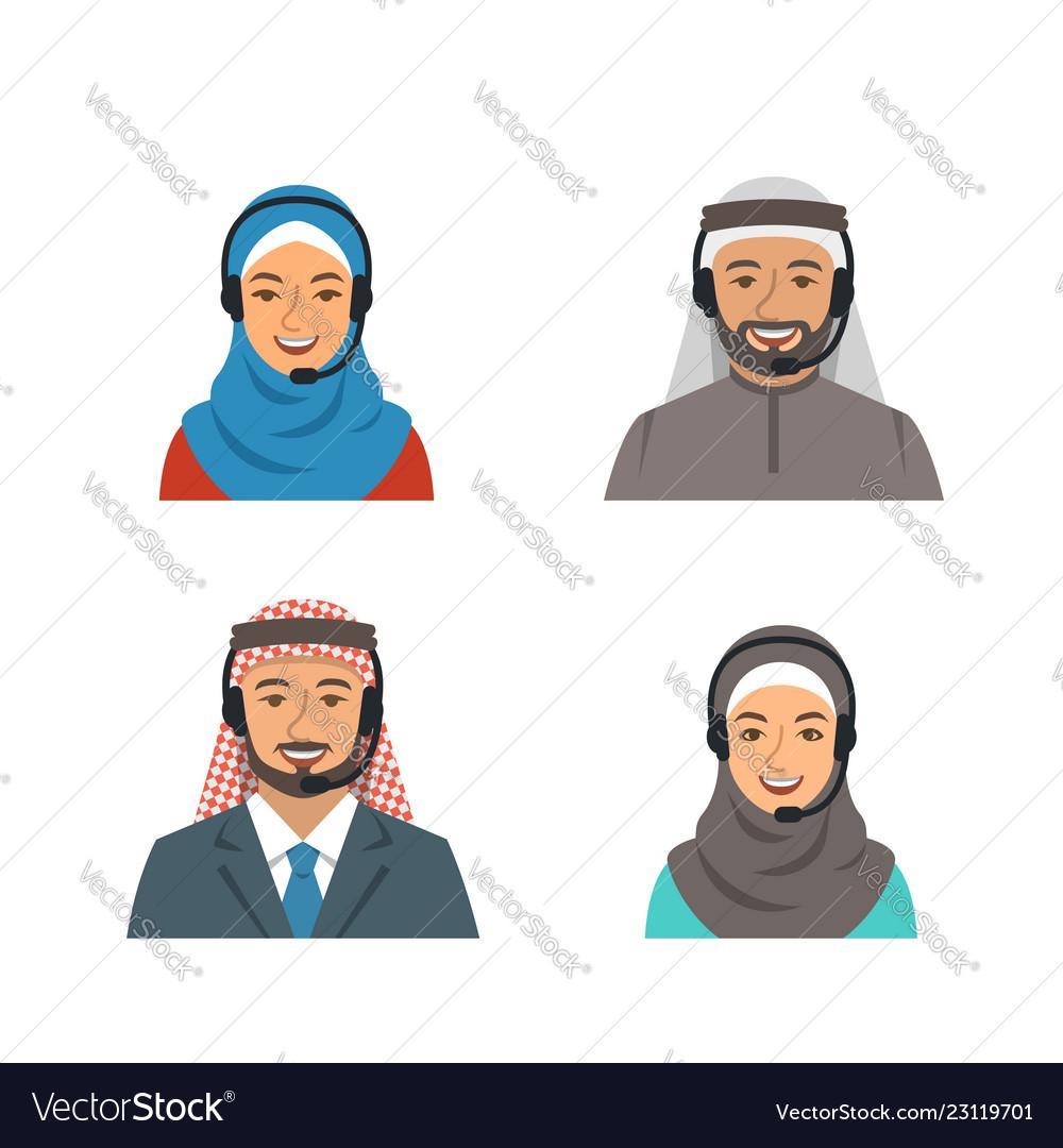 Arab people call center agents flat avatars