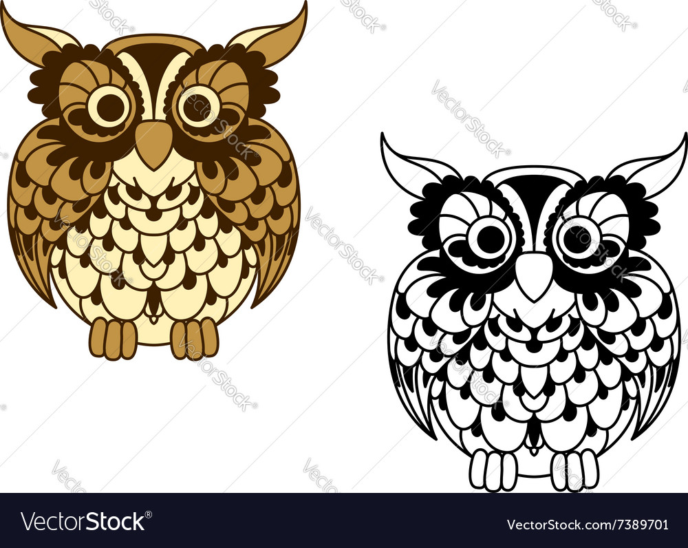 Brown cartoon and outline colorless owl bird