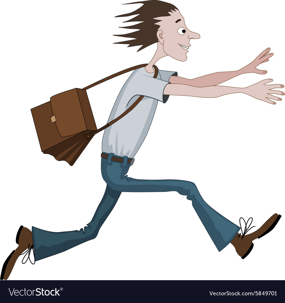 Carton man running fast with bag towards
