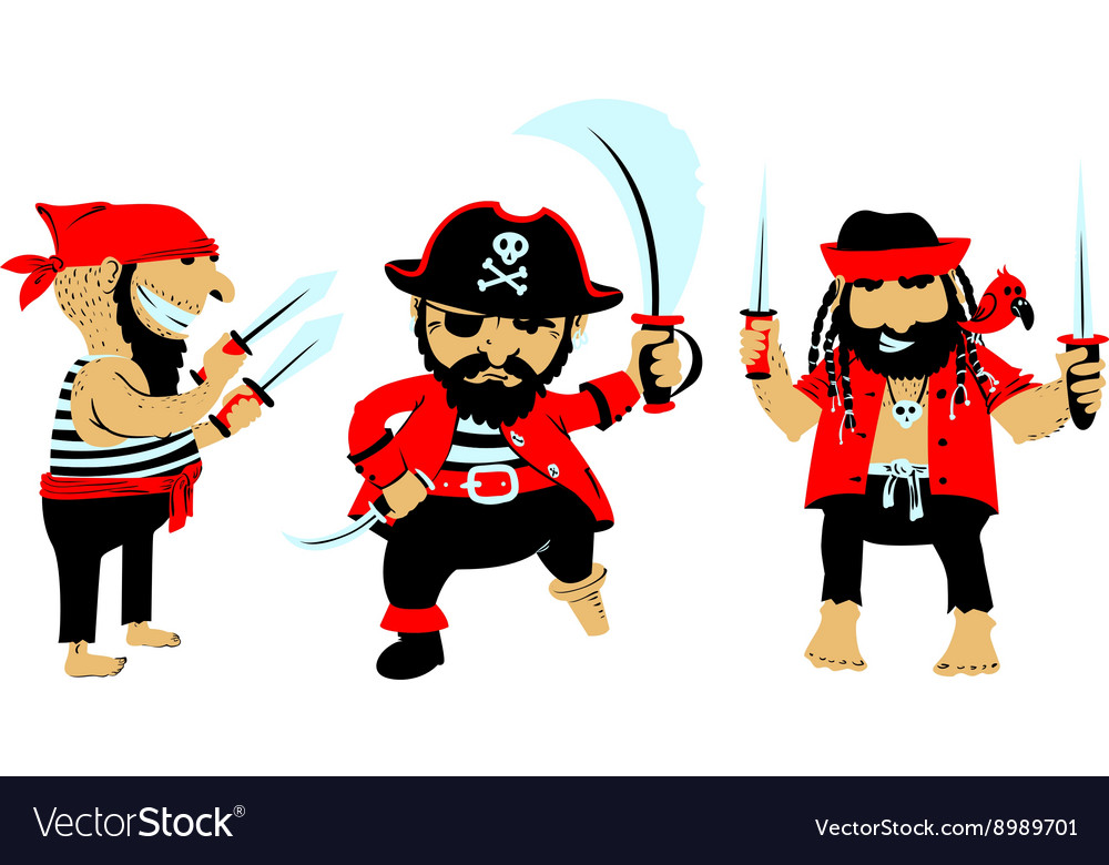 Cartoon pirates with weapon vector image