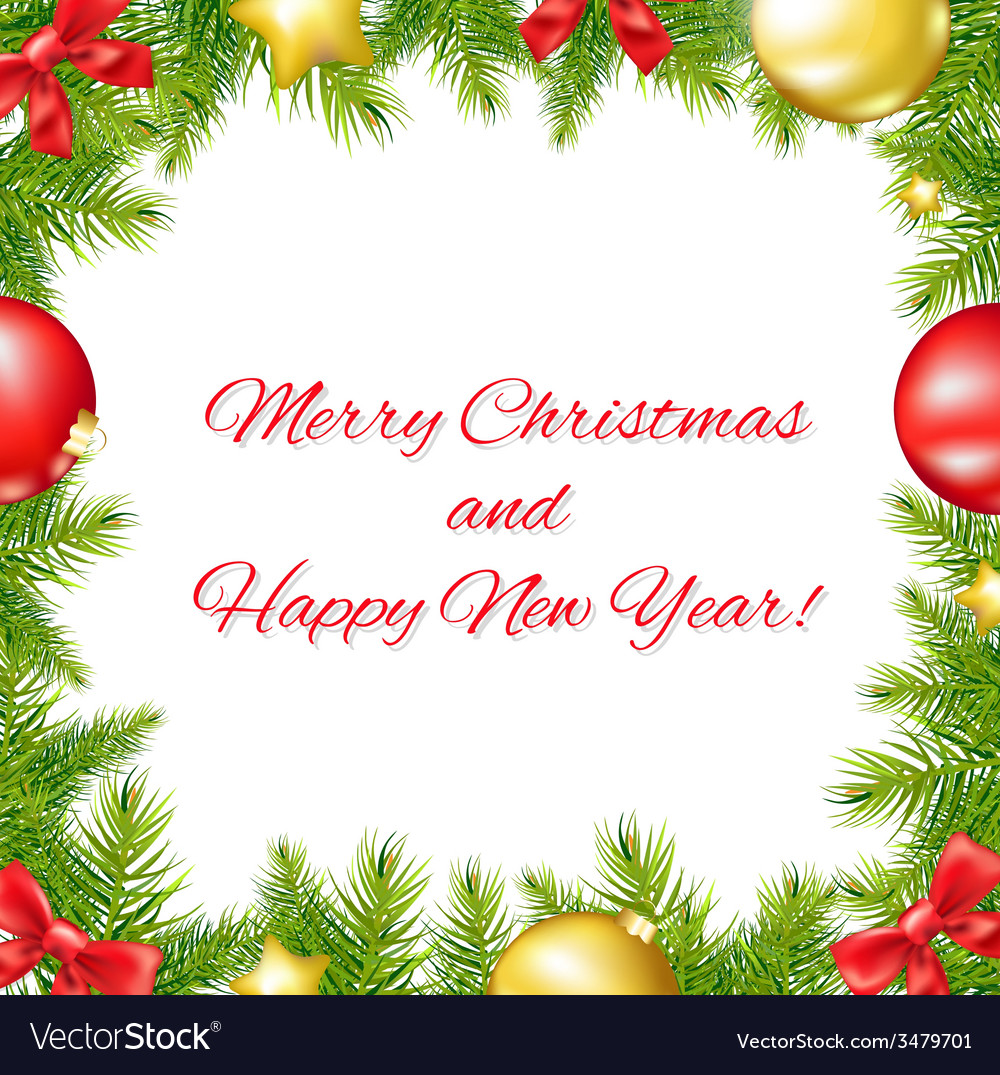 Christmas And Happy New Year Card Royalty Free Vector Image