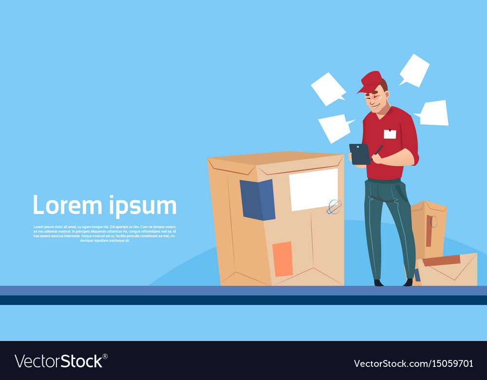 Courier man use tablet box delivery package post vector image