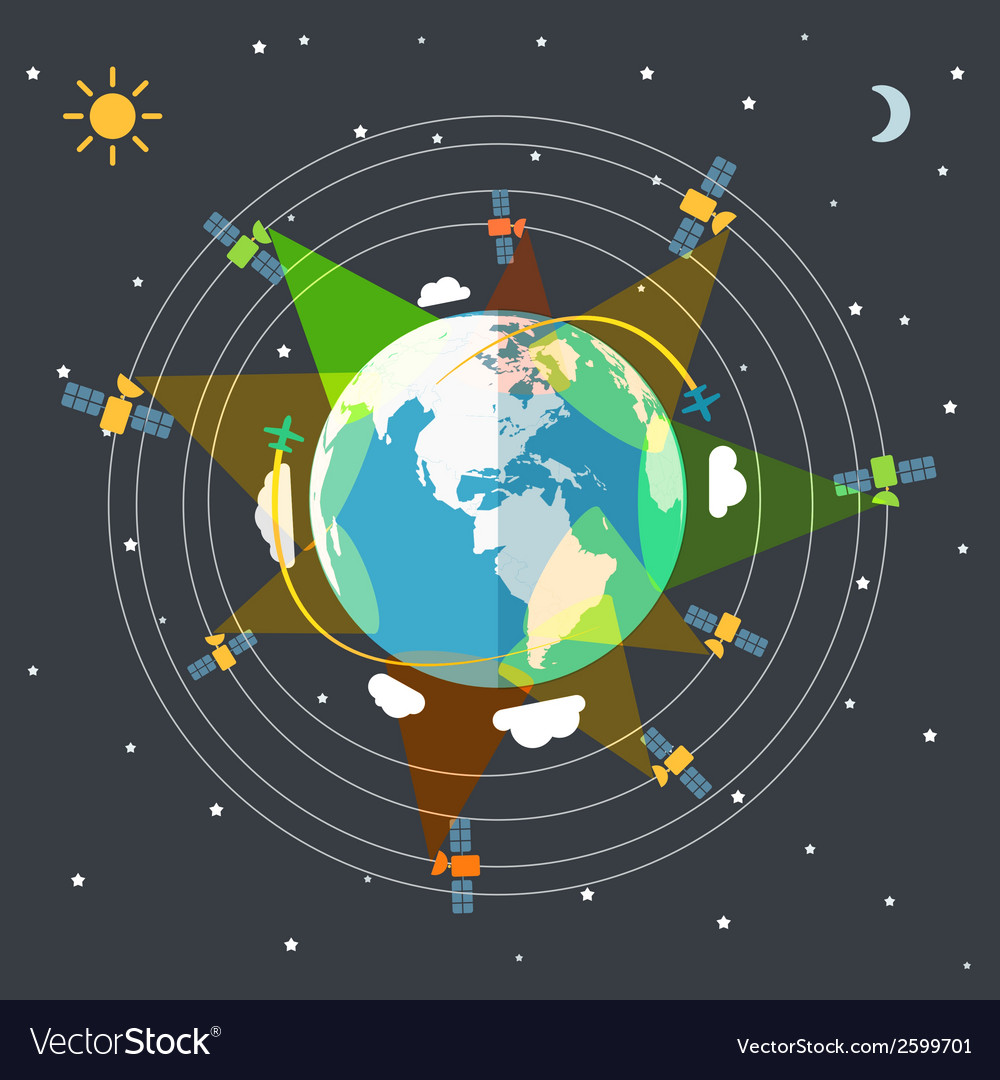 Flat design of the Earth in space and satellites