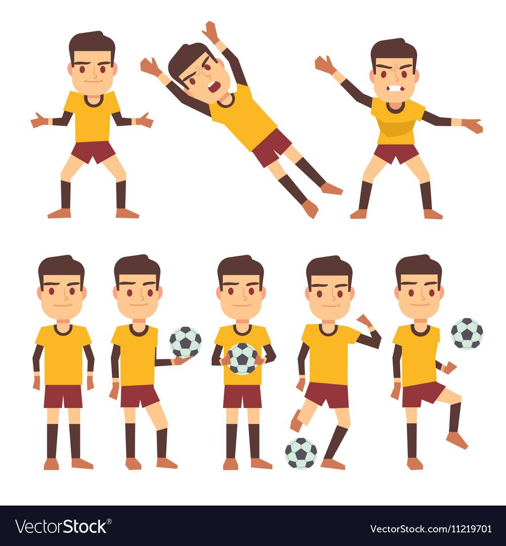 Footballer soccer player goalkeeper in different