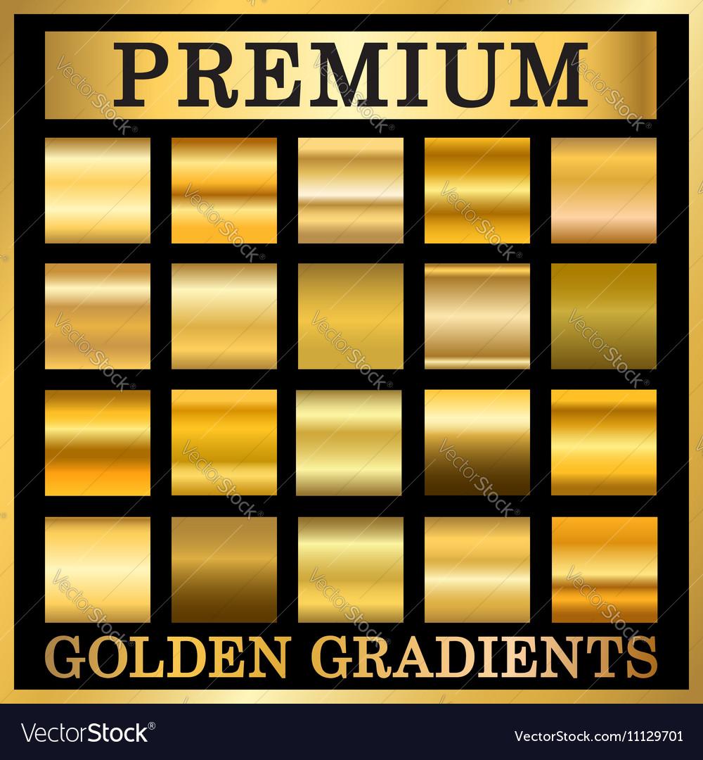 Gold texture square patterns set
