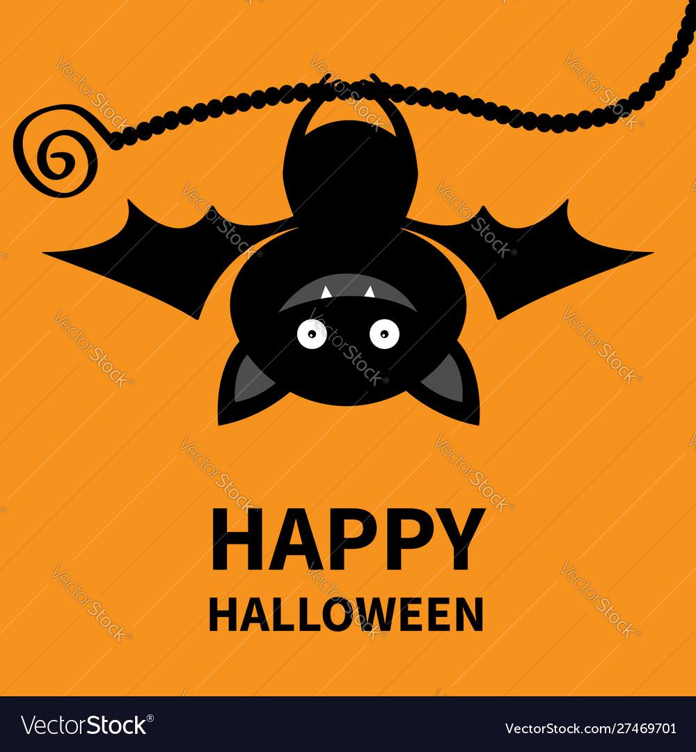 Happy halloween bat hanging cute cartoon kawaii