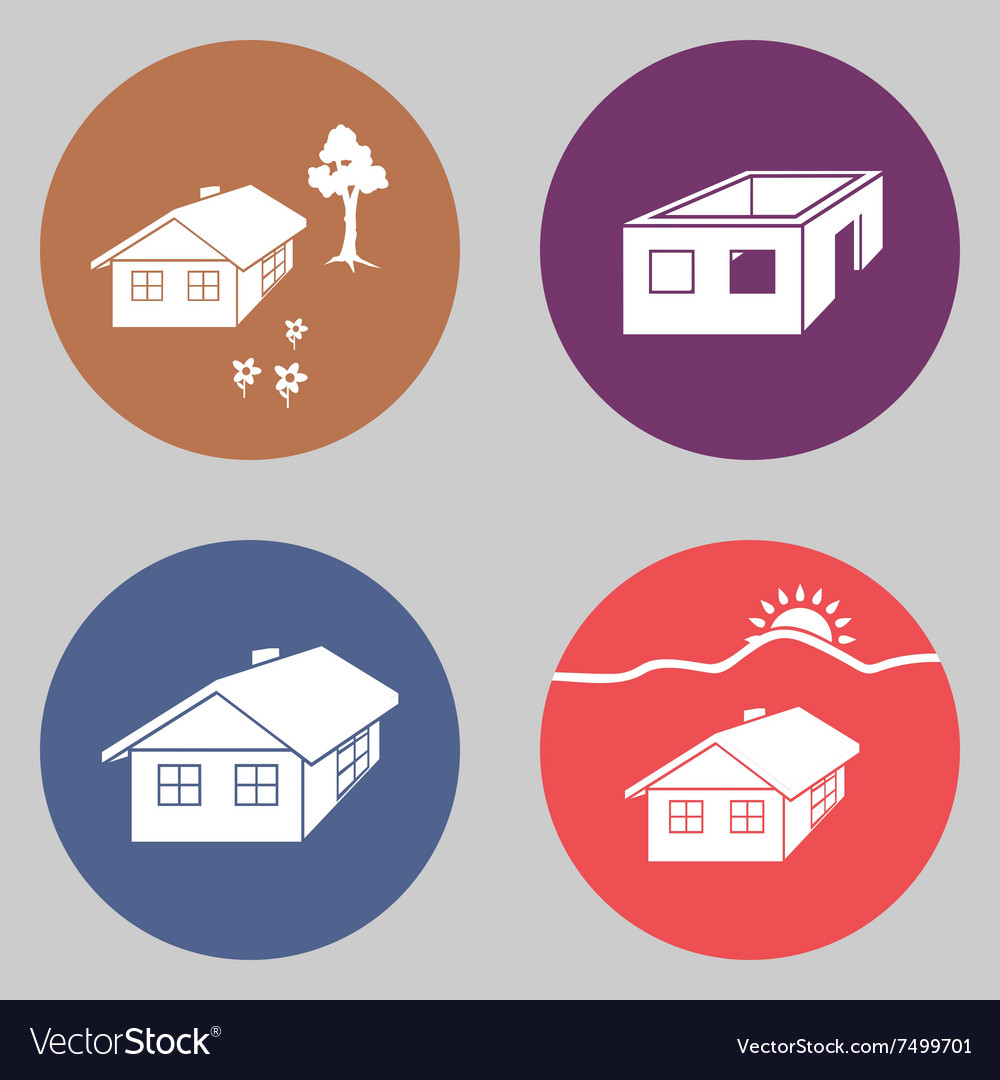 House icon set Finished unfinished building vector image