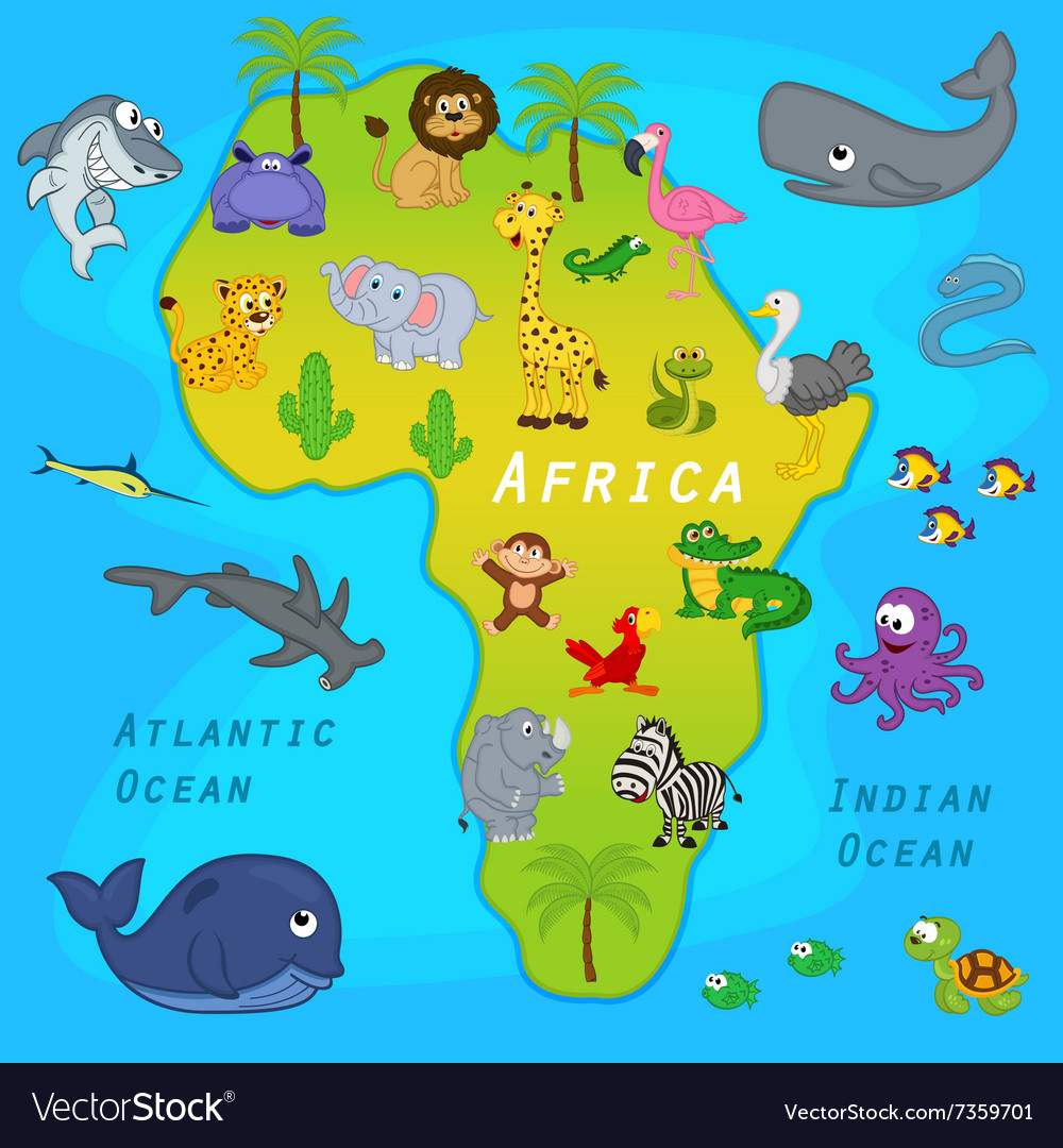 Map of Africa with animals Royalty Free Vector Image