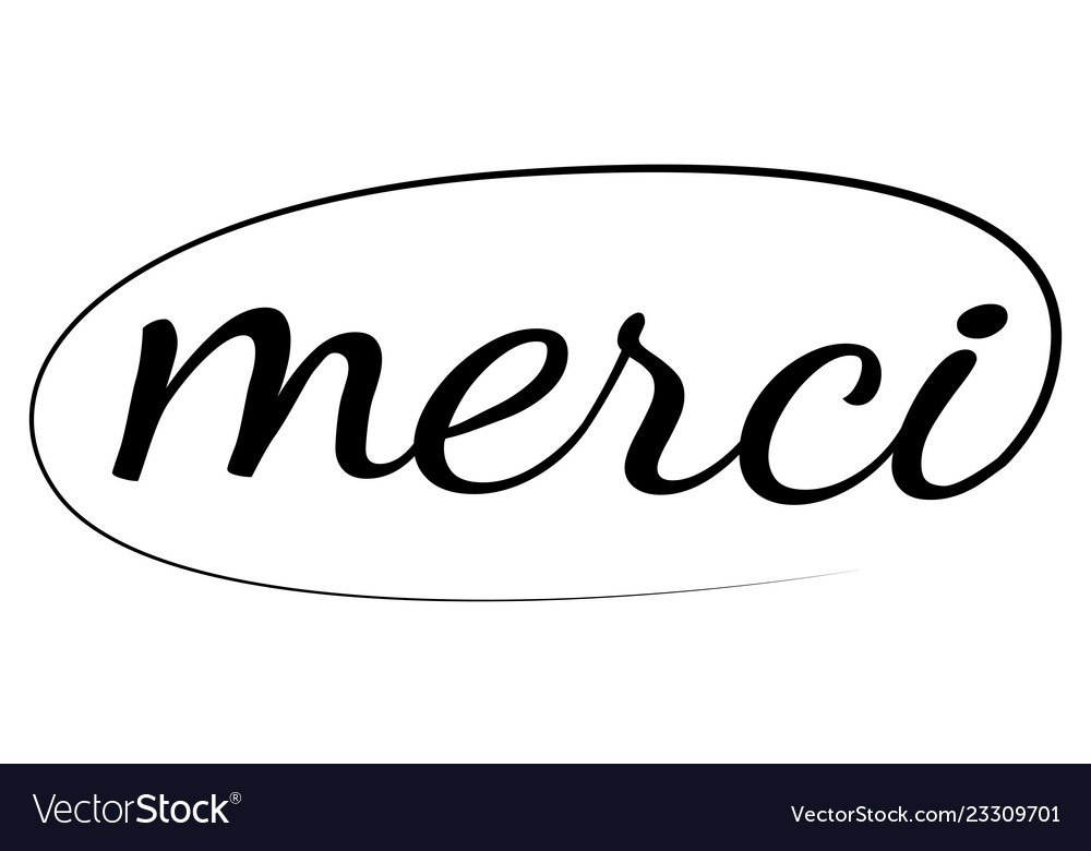 Merci phrase hand drawn lettering calligraphic