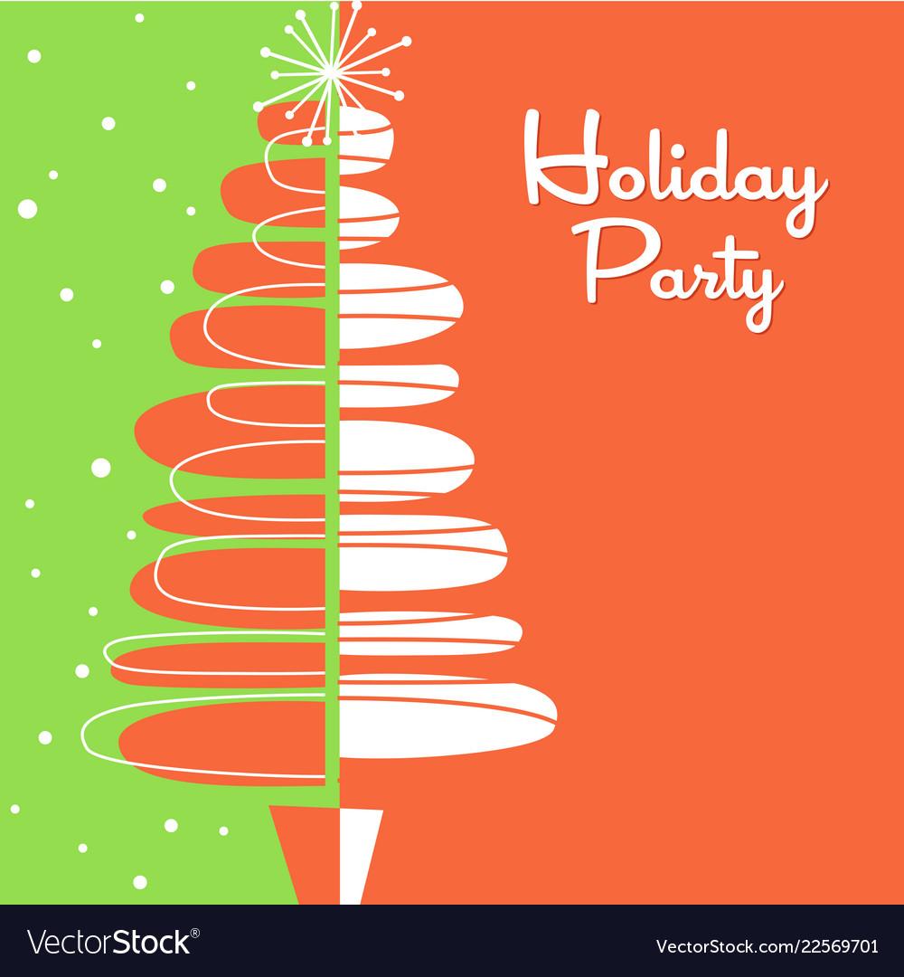 Midcentury Modern Abstract Christmas Tree Design Vector Image