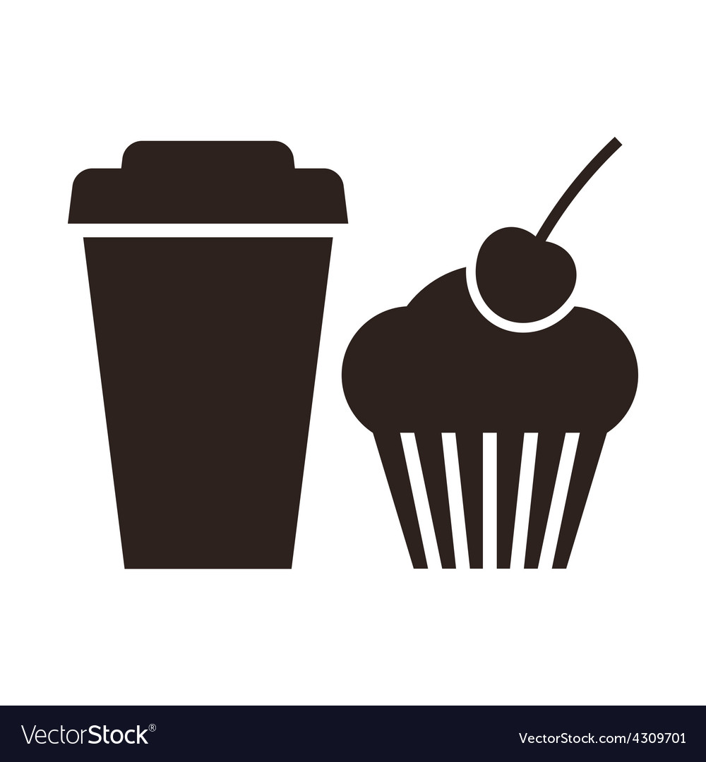 Muffin and coffee to go icon vector image