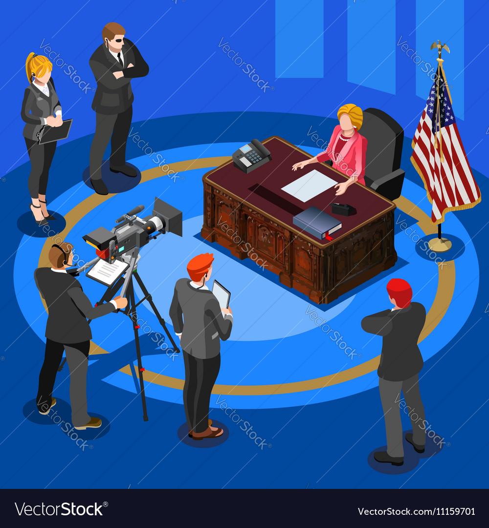 President Speech Isometric People vector image