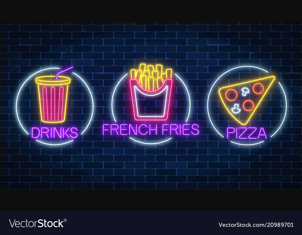 Set of three neon glowing signs of french fries