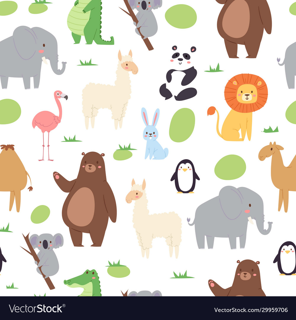 African jungle animals seamless pattern for cute
