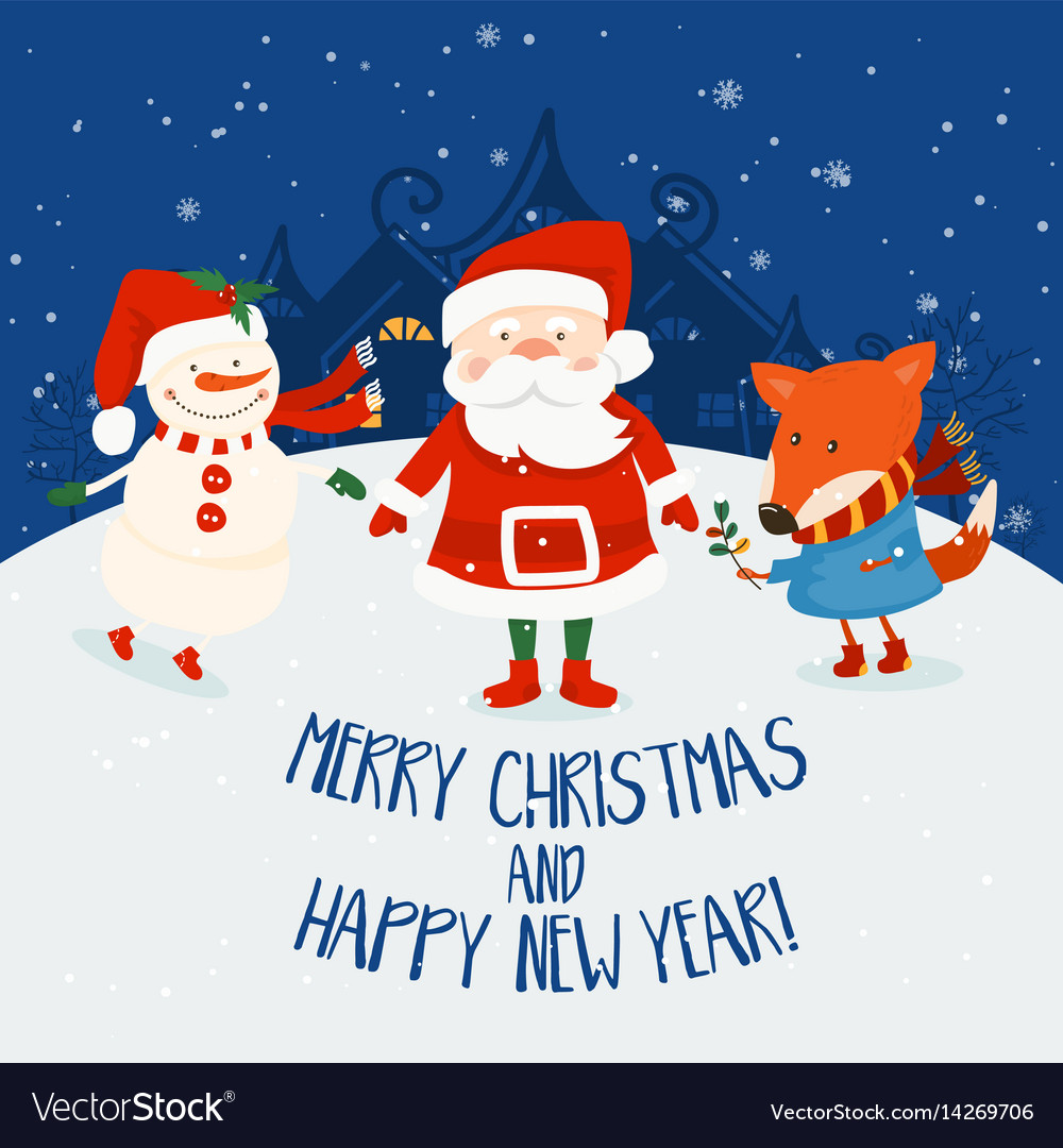Cartoon for holiday theme with santa clausfox and vector image