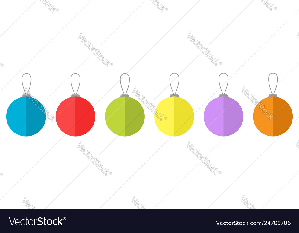 Christmas ball icon set line white background vector