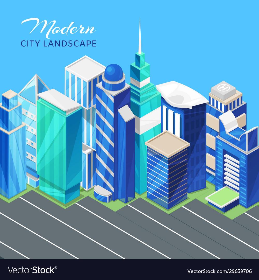 City urban landscape isometric view