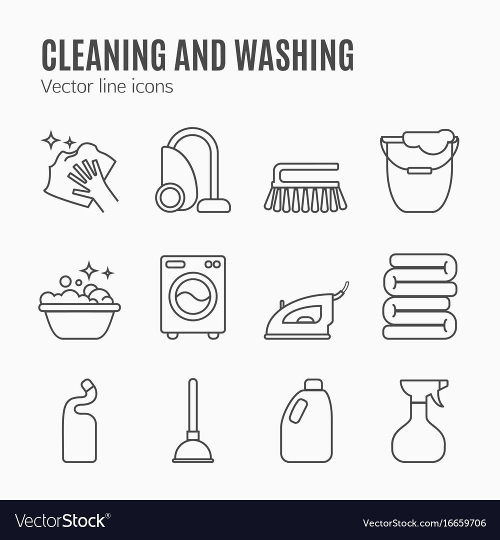 Cleaning wash line icons washing machine sponge vector image