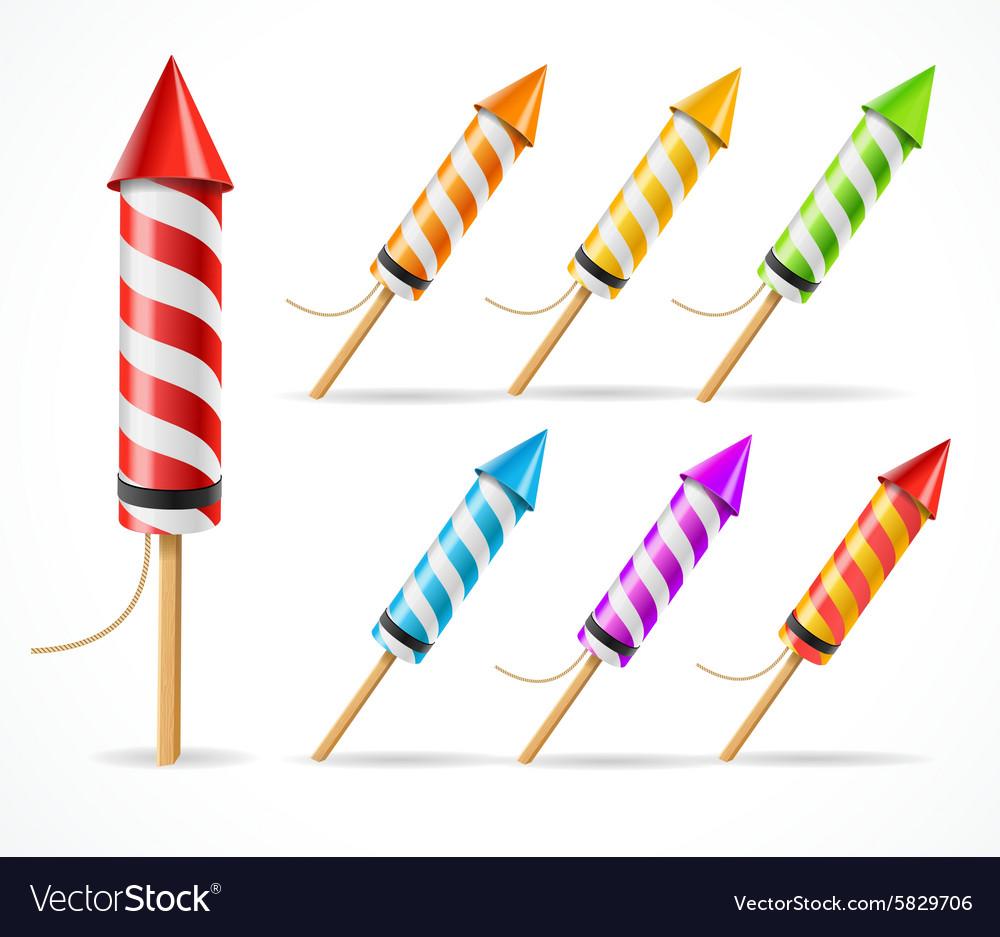 Fireworks rocket set vector image