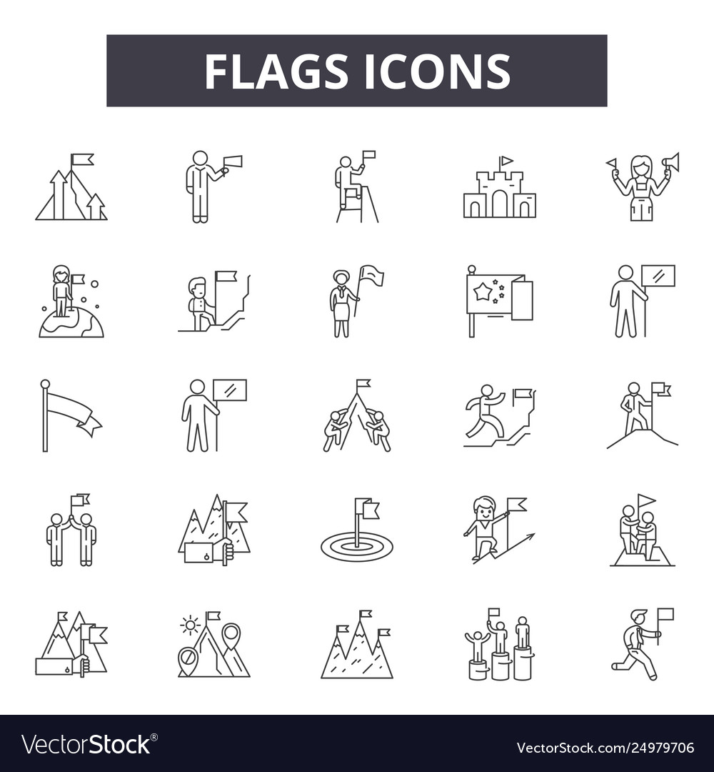 Flags line icons signs set outline