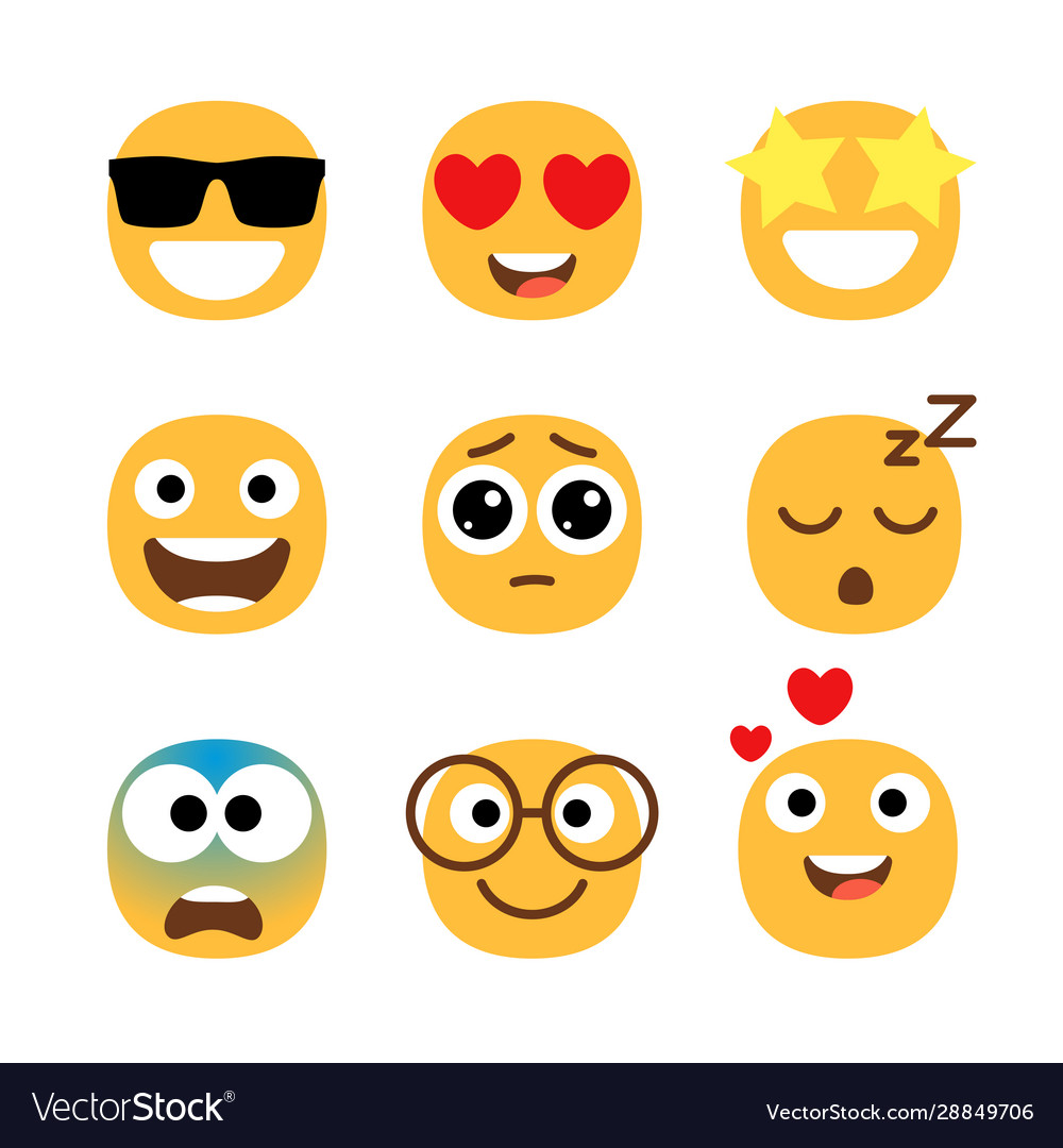Flat emoticons faces simple happy and funny