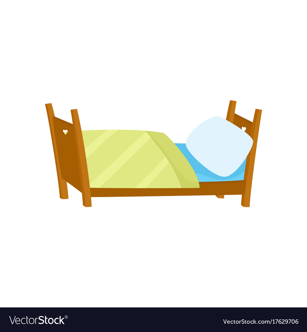 Flat wooden bed with pillow and blanket