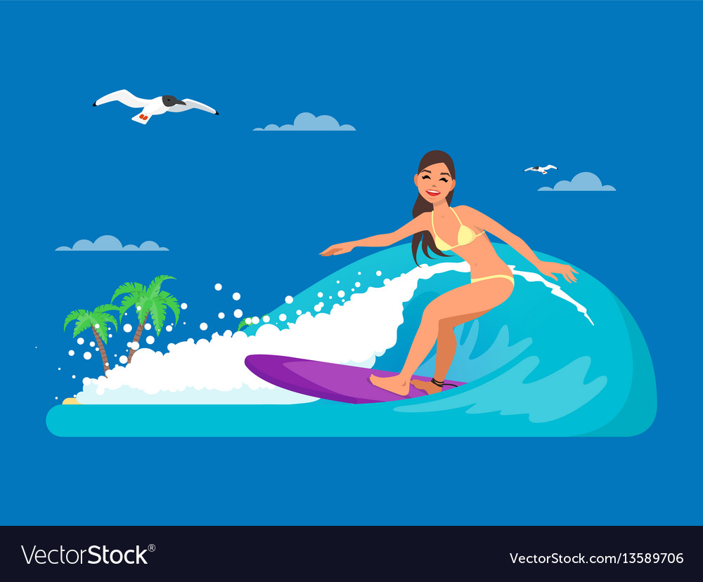 Girl riding on ocean wave in