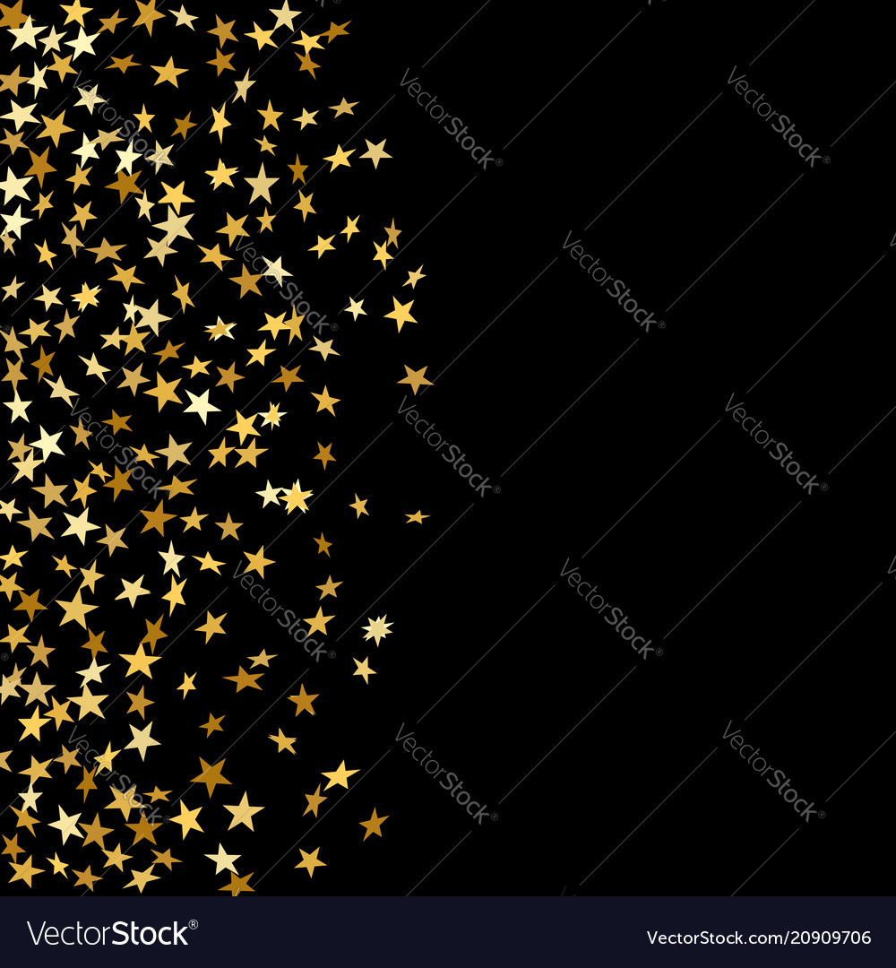 Gold stars falling confetti isolated on black