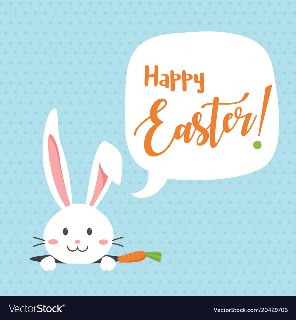 Happy easter bunny with carrot white bunny