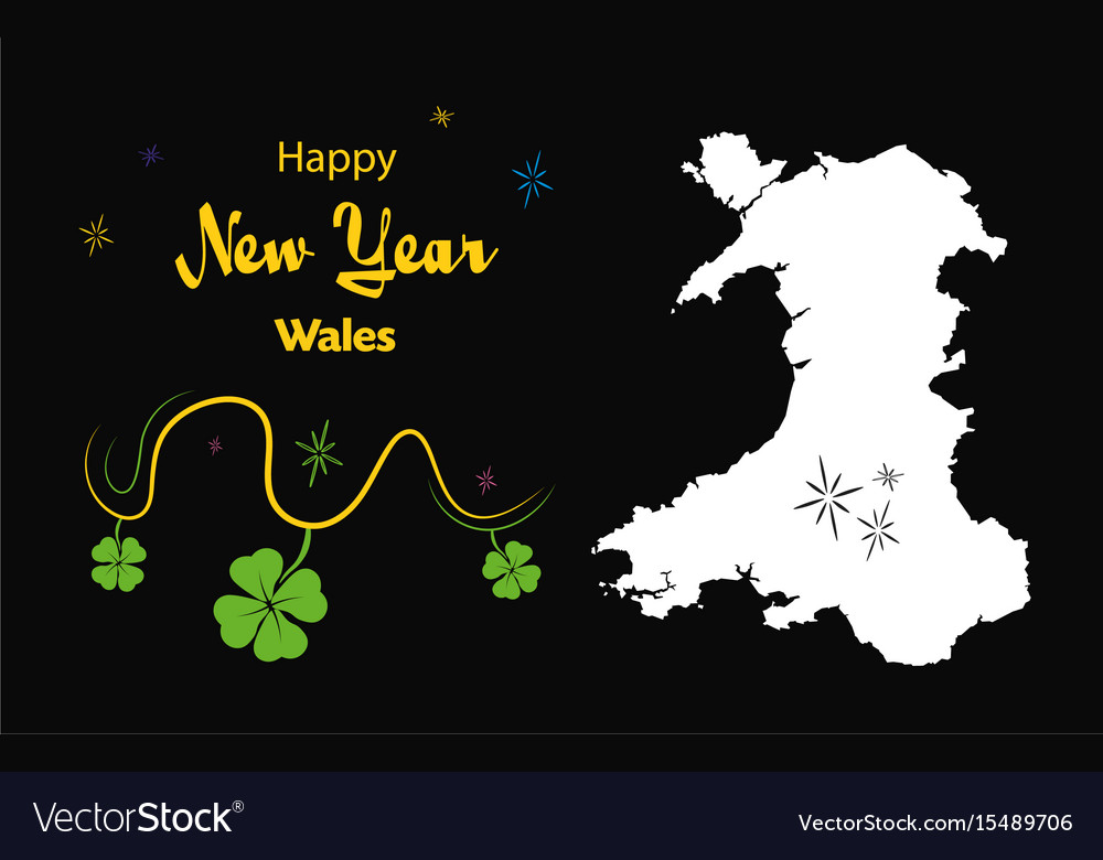 happy new year theme with map of wales vector image