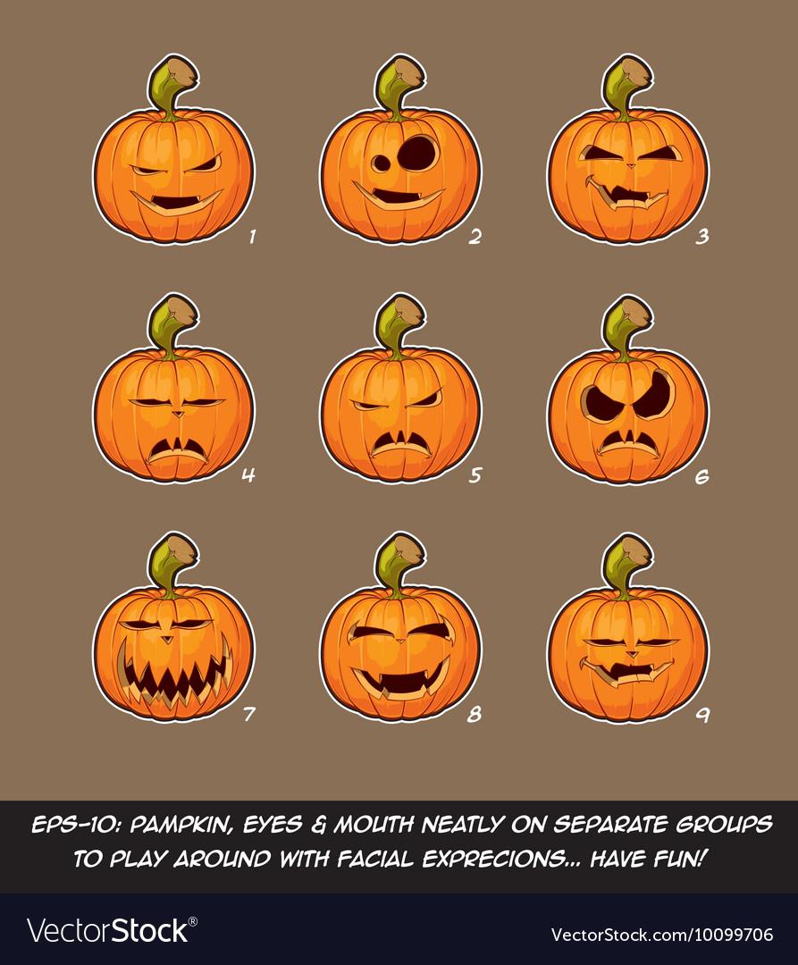 Jack O Lantern Cartoon 9 Vampire Expressions Set