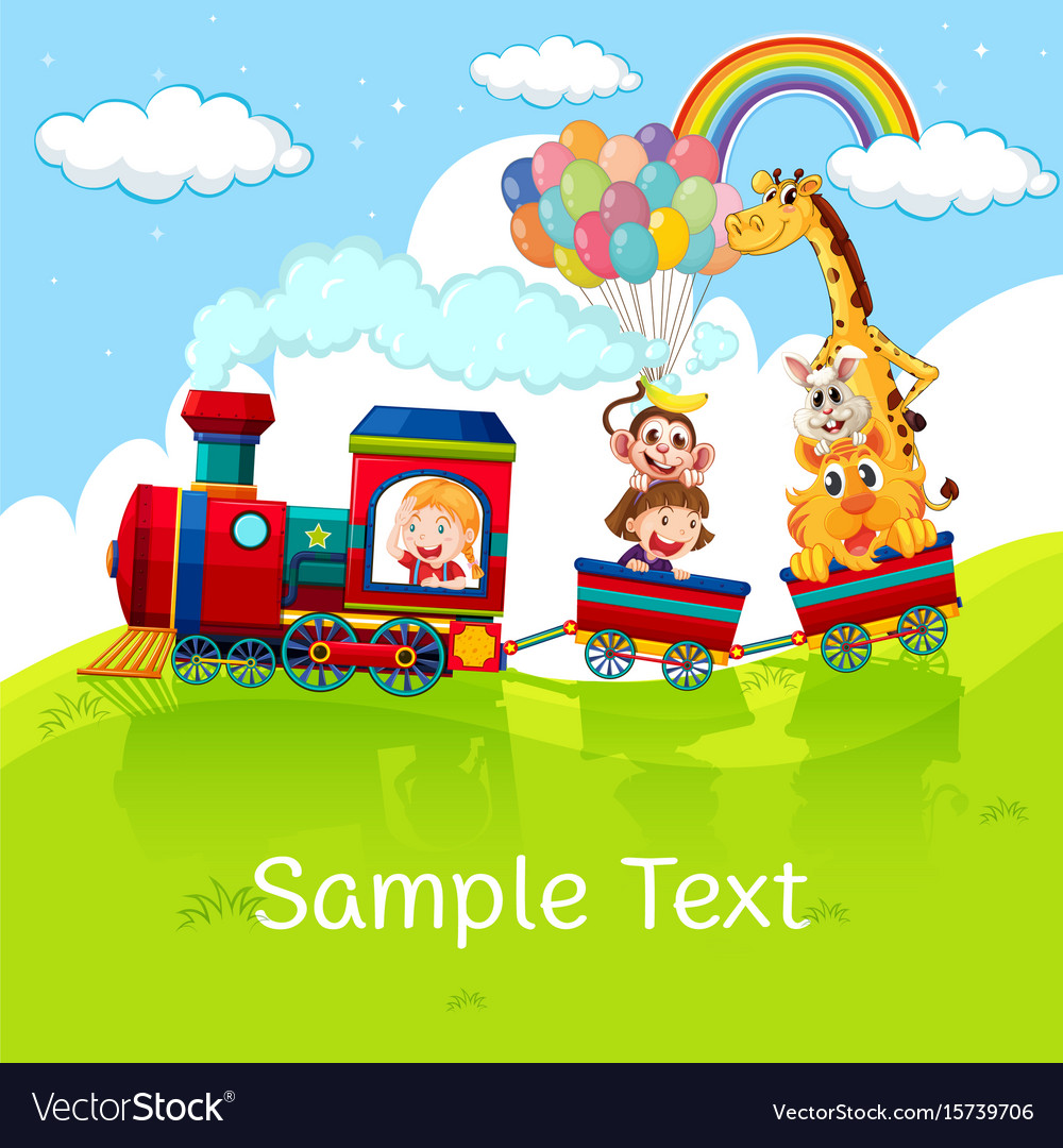 Kids and animals on train with sample text on