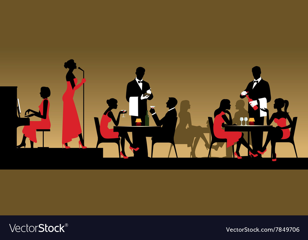 People in night club or restaurant