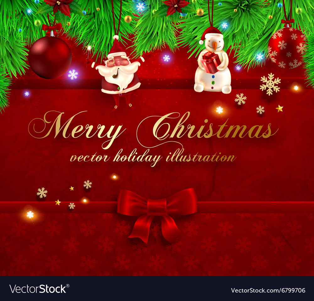 Red Christmas Background Vector Image On Vectorstock