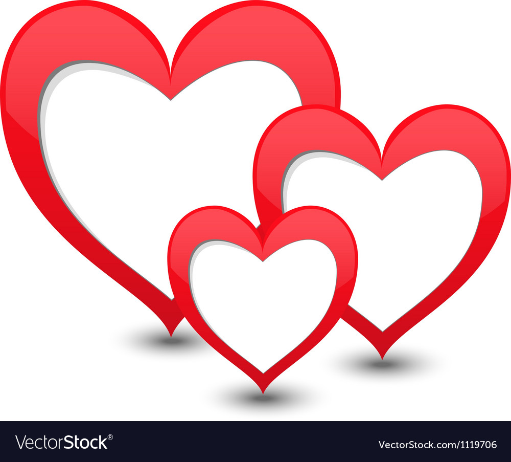 Download Valentines day card with three hearts Royalty Free Vector