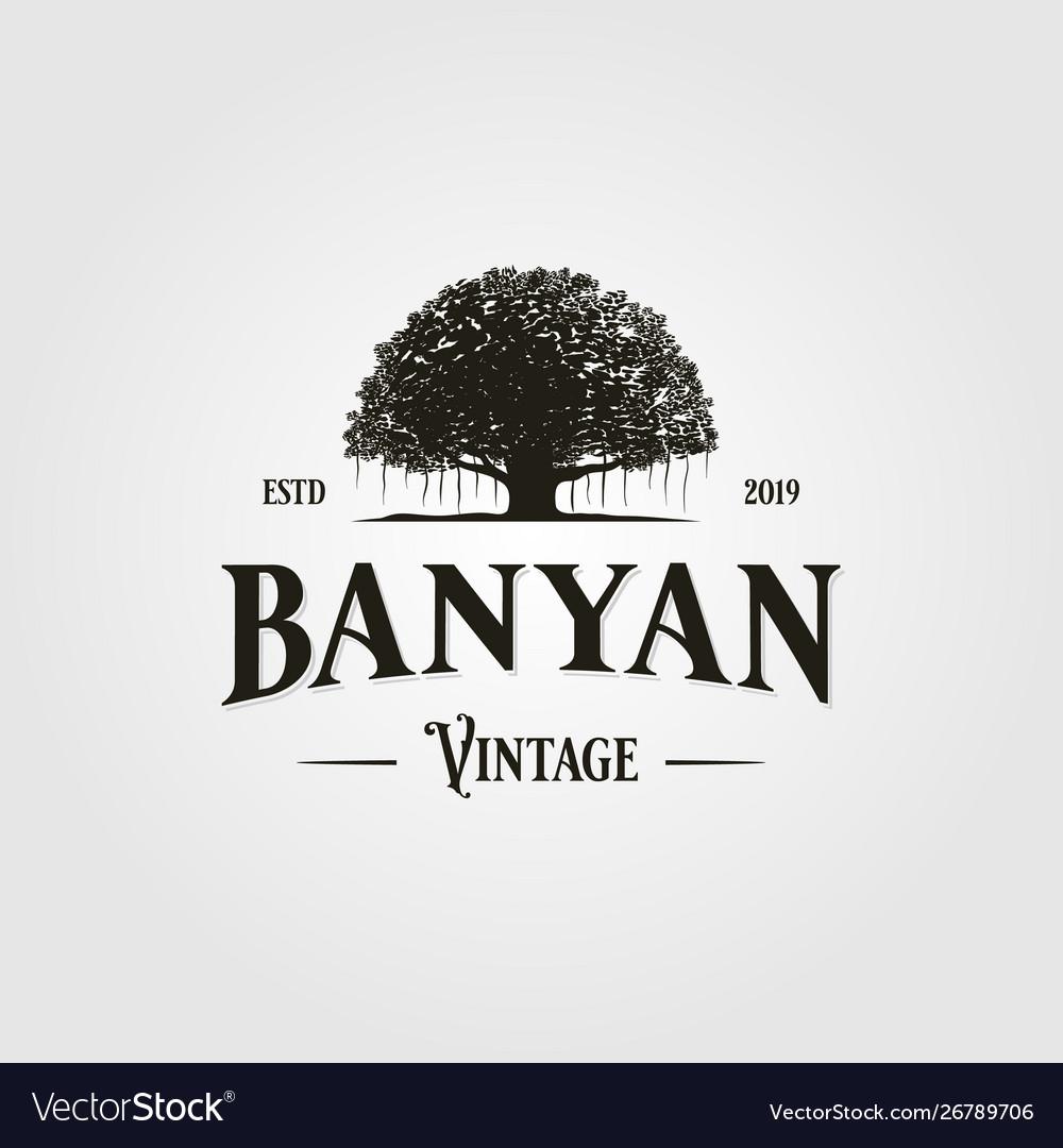 Vintage Retro Banyan Tree Logo Icon Royalty Free Vector