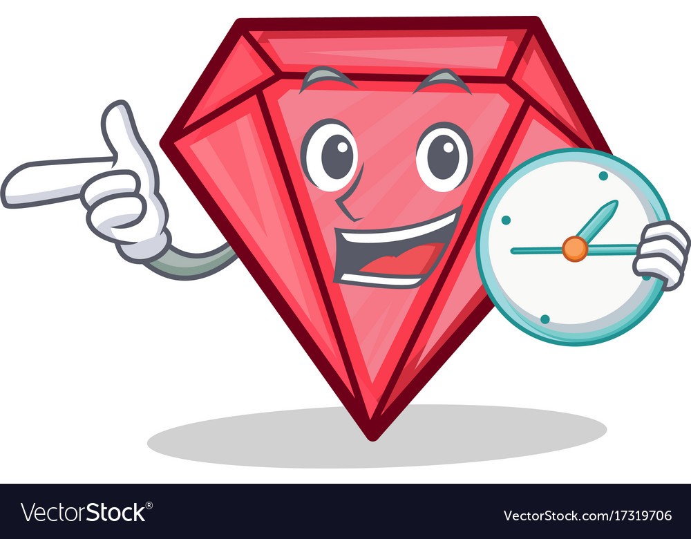 With clock diamond character cartoon style