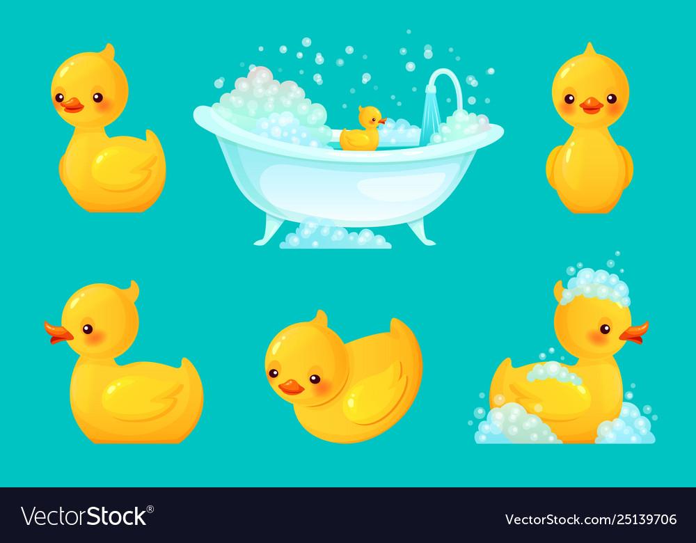 Yellow bath duck bathroom tub with foam relaxing