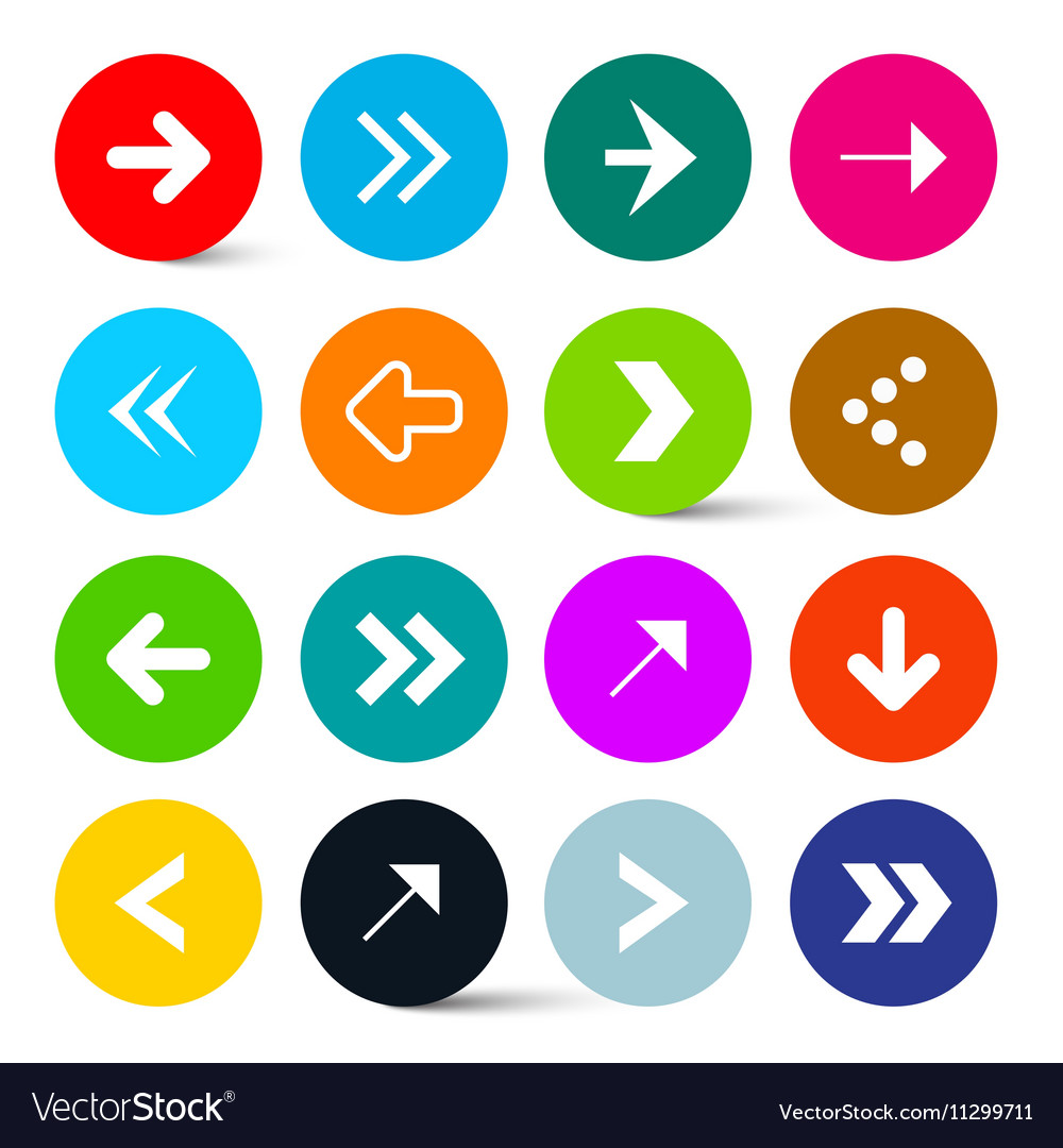 Arrows Set in Colorful Circles Perfect for Web