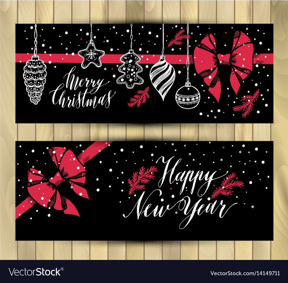 Banners set new years toys hand drawn style on